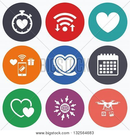 Wifi, mobile payments and drones icons. Heart ribbon icon. Timer stopwatch symbol. Love and Heartbeat palpitation signs. Calendar symbol.