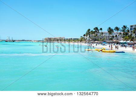 Palm Beach at Aruba island in the Caribbean Sea