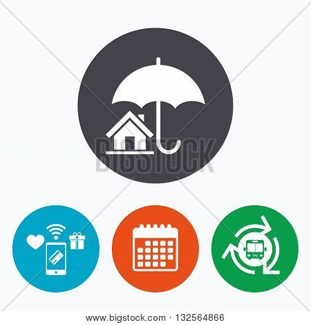 Home insurance sign icon. Real estate insurance symbol. Mobile payments, calendar and wifi icons. Bus shuttle.