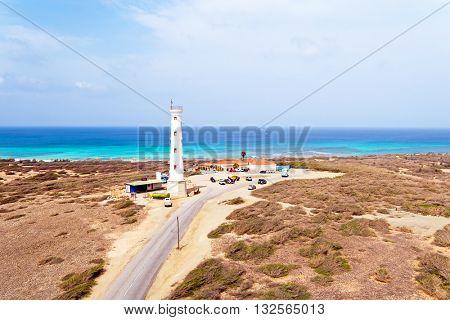 Aerial from California LIghthouse on Aruba island in the Caribbean