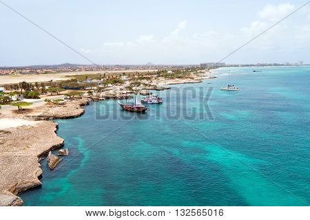 Aerial from the west coast from Aruba island in the Caribbean Sea