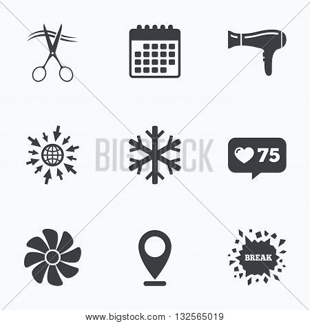 Calendar, like counter and go to web icons. Hotel services icons. Air conditioning, Hairdryer and Ventilation in room signs. Climate control. Hairdresser or barbershop symbol. Location pointer.