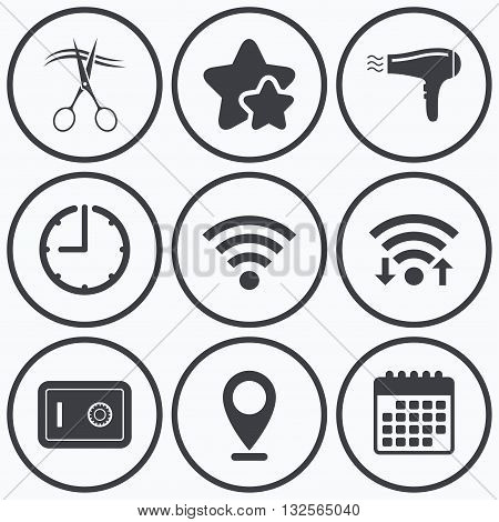 Clock, wifi and stars icons. Hotel services icons. Wi-fi, Hairdryer and deposit lock in room signs. Wireless Network. Hairdresser or barbershop symbol. Calendar symbol.