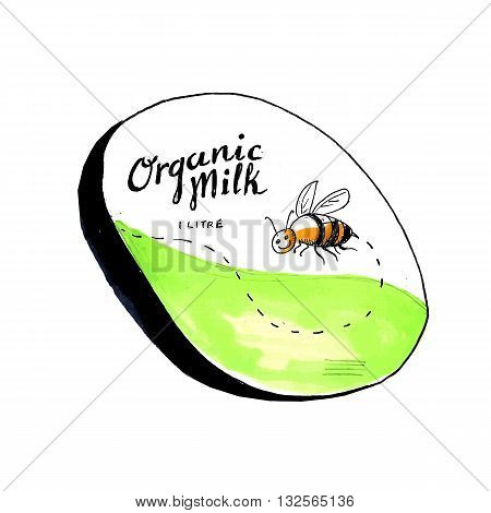 Drawing sketch style illustration of an organic milk 1 litre label with a flying worker honey bee.