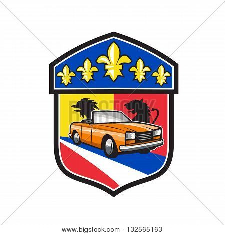Illustration of a vintage car with top-down folding roof with French coat of arms crest and fleur-de-lis iris flower set inside shield crest done in retro style.