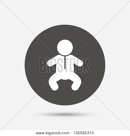 Baby infant sign icon. Toddler boy in pajamas or crawlers body symbol. Child WC toilet. Gray circle button with icon. Vector