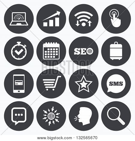 Wifi, calendar and mobile payments. Internet, seo icons. Online shopping, charts and speed signs. Chat messages symbol. Sms speech bubble, go to web symbols.