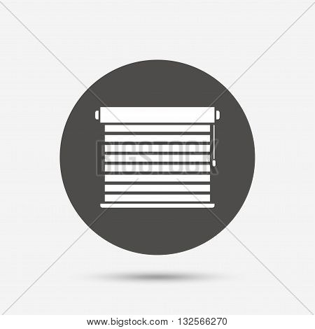 Louvers sign icon. Window blinds or jalousie symbol. Gray circle button with icon. Vector