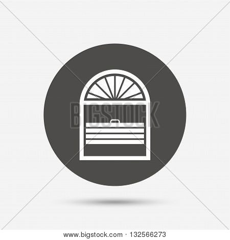 Louvers plisse sign icon. Window blinds or jalousie symbol. Gray circle button with icon. Vector