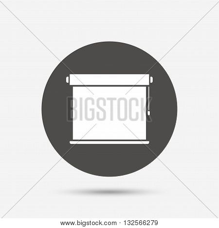 Louvers rolls sign icon. Window blinds or jalousie symbol. Gray circle button with icon. Vector