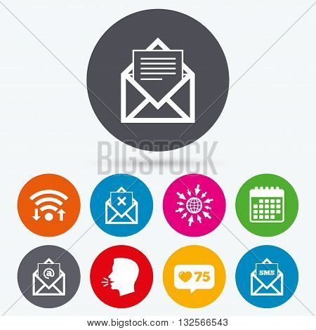 Wifi, like counter and calendar icons. Mail envelope icons. Message document symbols. Post office letter signs. Delete mail and SMS message. Human talk, go to web.