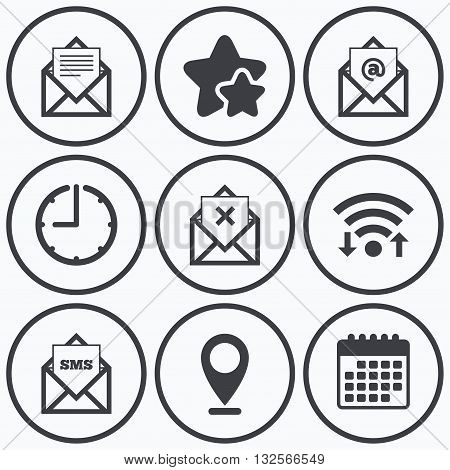 Clock, wifi and stars icons. Mail envelope icons. Message document symbols. Post office letter signs. Delete mail and SMS message. Calendar symbol.