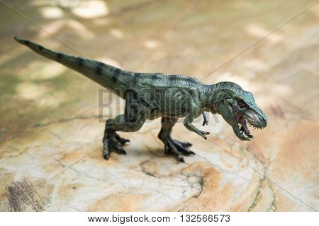 a green tyrannosaurus toy standing on rock