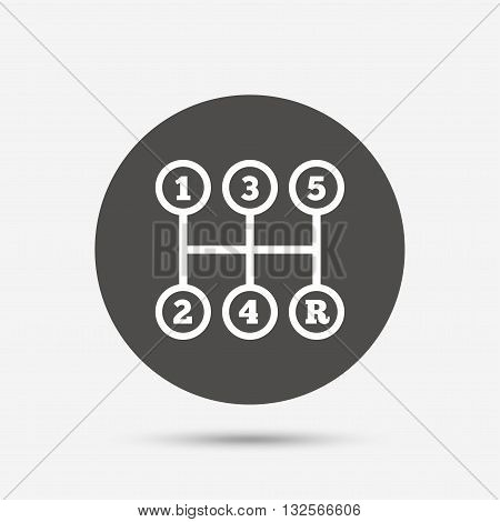 Manual transmission sign icon. Automobile mechanic control symbol. Gray circle button with icon. Vector