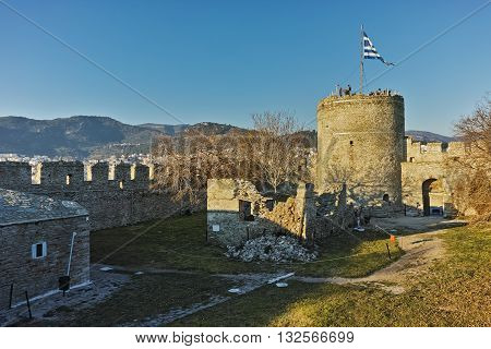 Tower of the Byzantine fortress in Kavala, East Macedonia and Thrace, Greece