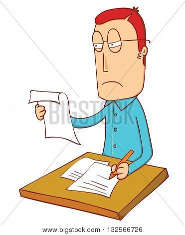 a man reviewing some papers on table