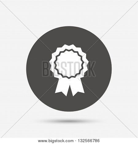 Award medal icon. Best guarantee symbol. Winner achievement sign. Gray circle button with icon. Vector