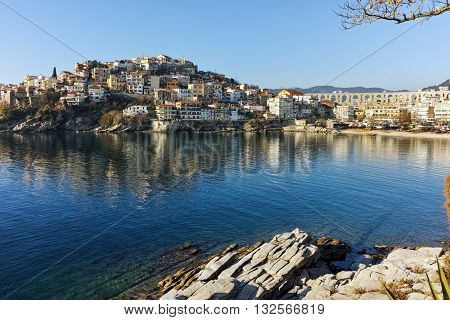 Amazing Panorama of aqueduct and old Old town of Kavala, East Macedonia and Thrace, Greece