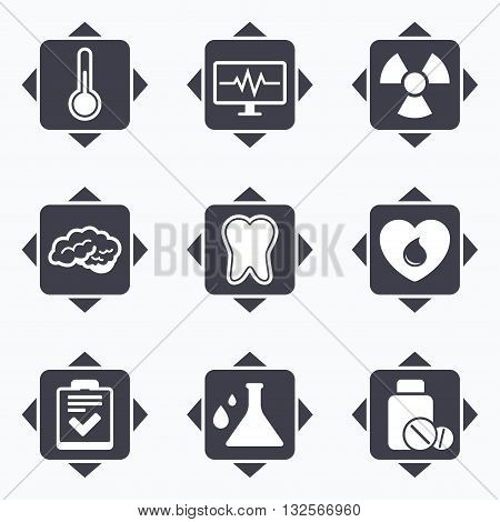 Icons with direction arrows. Medicine, medical health and diagnosis icons. Blood donate, thermometer and pills signs. Tooth, neurology symbols. Square buttons.