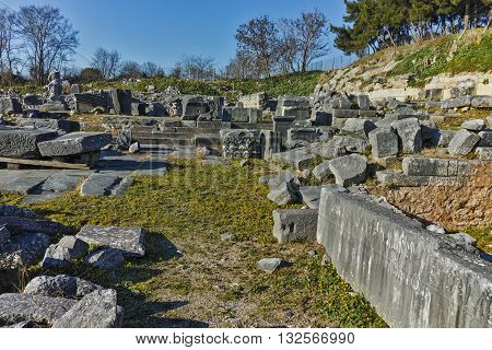 Ruins in the archeological area of ancient Philippi, Eastern Macedonia and Thrace, Greece