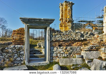 Ancient entrance of Basilica in the archeological area of ancient Philippi, Eastern Macedonia and Thrace, Greece