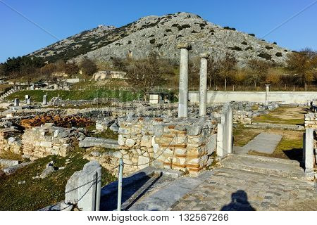 Ancient remainings in the archeological area of ancient Philippi, Eastern Macedonia and Thrace, Greece