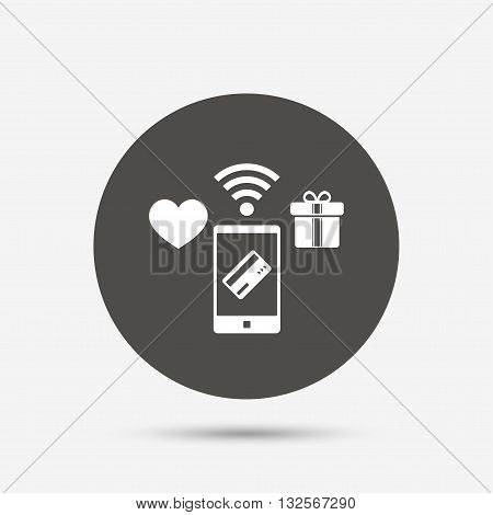 Wireless mobile payments icon. Smartphone, credit card and gift symbol. Gray circle button with icon. Vector