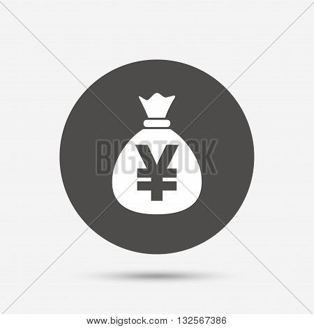 Money bag sign icon. Yen JPY currency symbol. Gray circle button with icon. Vector