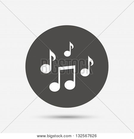 Music notes sign icon. Musical symbol. Gray circle button with icon. Vector
