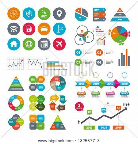 Wifi, calendar and web icons. Navigation, gps icons. Windrose, compass and map pointer signs. Car, airplane and flag symbols. Diagram charts design.