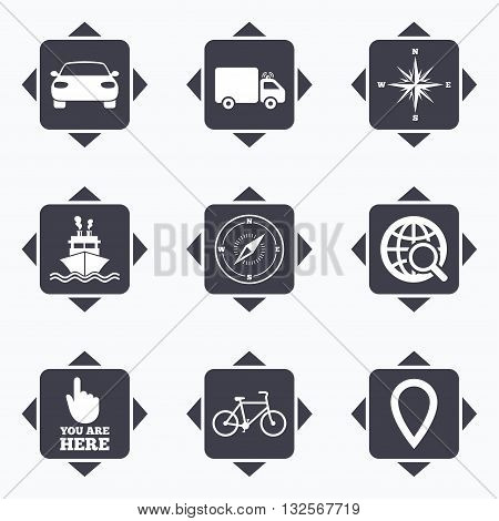 Icons with direction arrows. Navigation, gps icons. Windrose, compass and map pointer signs. Bicycle, ship and car symbols. Square buttons.