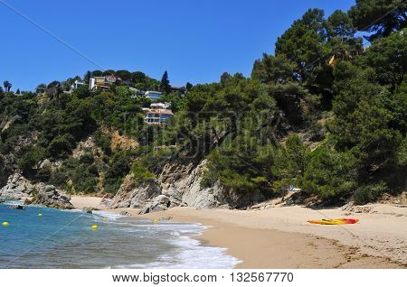 view of the different coves of Cala Llorell in Tossa de Mar, in the Costa Brava, Catalonia, Spain
