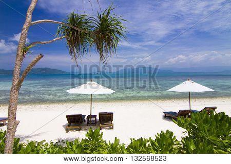 Beds beach koh Matsum Island, Koh Samui Thailand.