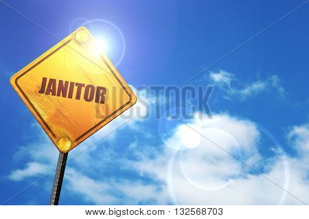 janitor, 3D rendering, glowing yellow traffic sign