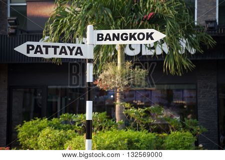 Bangkok and Pattaya pointer sign for tourists. Thailand city guidepost. Palm tree