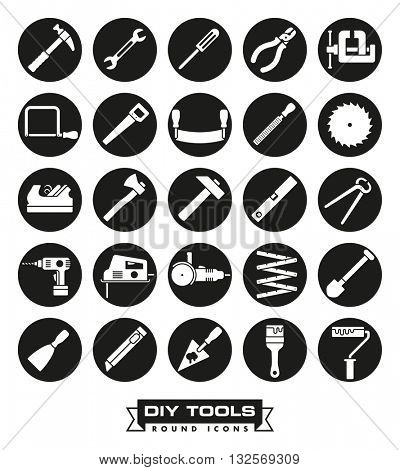 Do it yourself and crafting tools icon set. Collection of DIY vector icons in black circles