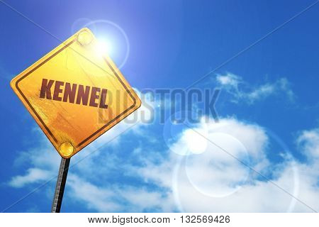 kennel, 3D rendering, glowing yellow traffic sign