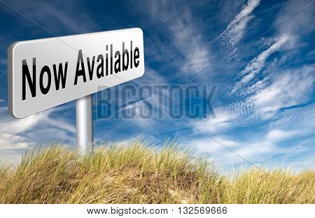 available now in stock at web shop, road sign billboard 3D illustration