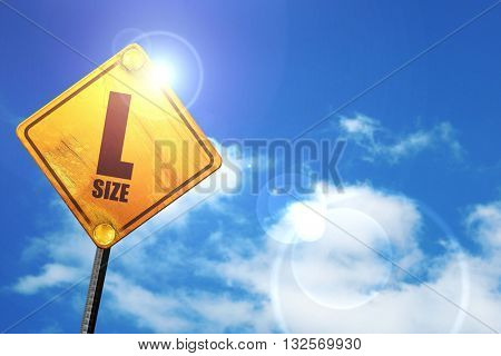 l size, 3D rendering, glowing yellow traffic sign