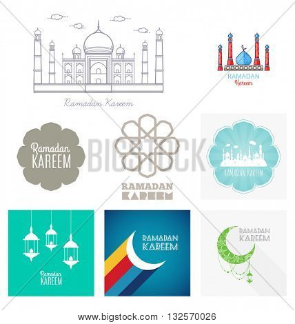 Vector Set Ramadan Kareem, greeting card