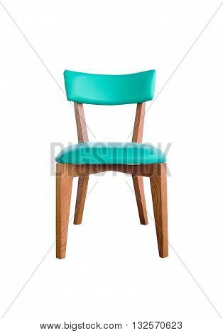 green leather chair isolated on white with clipping path