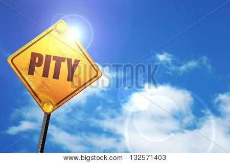 pity, 3D rendering, glowing yellow traffic sign
