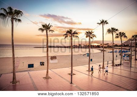 GRAN CANARIA, SPAIN-MAY 17, 2016: Sunset at Playa de Amadores in Puerto Rico town, Gran Canaria on May 17, 2016. Spain