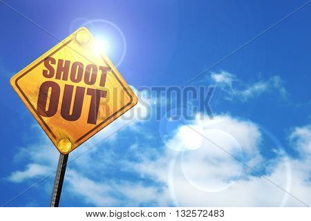 shoot out, 3D rendering, glowing yellow traffic sign