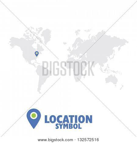 Location symbol. Map pointer, GPS location icon, world map.