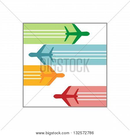 Logo airplane colorful flying icon vector symbol