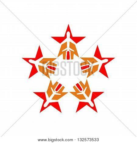 star plane logo aviation flying vector symbol