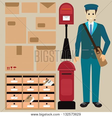 Set of postman with letter box Letter symbols and pictogramsparcel letter and Locker post box vector illustration.