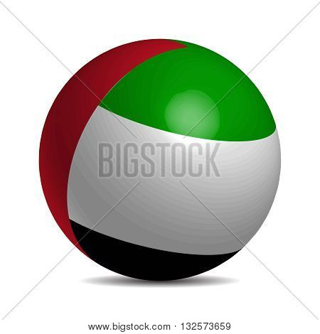United Arab Emirates flag on 3d ball with shadow, vector illustration