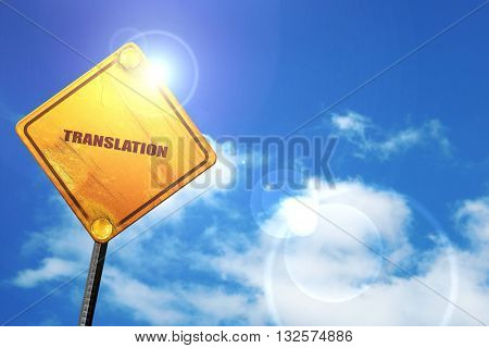 translation, 3D rendering, glowing yellow traffic sign